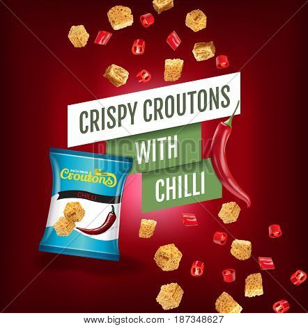 Crispy croutons ads. Vector realistic illustration of croutons with chilli. Poster with product.