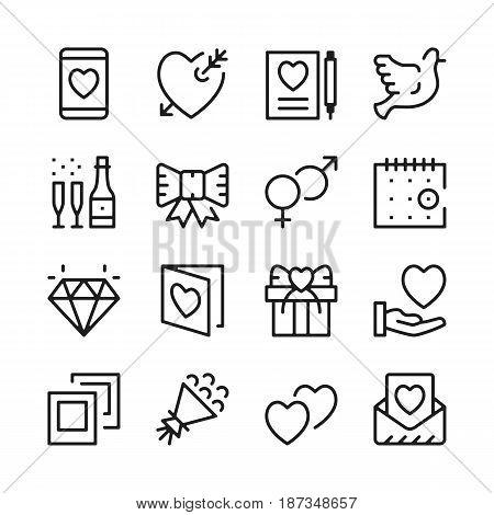 Dating line icons set. Modern graphic design concepts, simple outline elements collection. Vector line icons