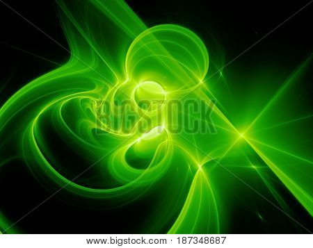 Green glowing high power plasma curves in space computer generated abstract background 3D rendering