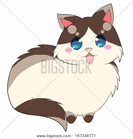 A cartoon style Ragdoll Cat with brown and gray pattern on their long fluffy fur, one of the cutest face in the world.