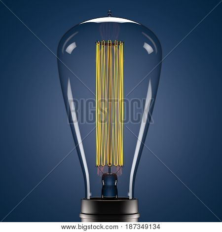 3d Edison yellow glowing lamp on blue backdrop. Three-dimensional model of saving energy illuminated retro lightbulb