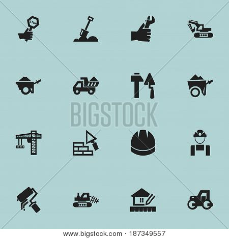 Set Of 16 Editable Building Icons. Includes Symbols Such As Excavation Machine, Construction Tools, Facing And More. Can Be Used For Web, Mobile, UI And Infographic Design.
