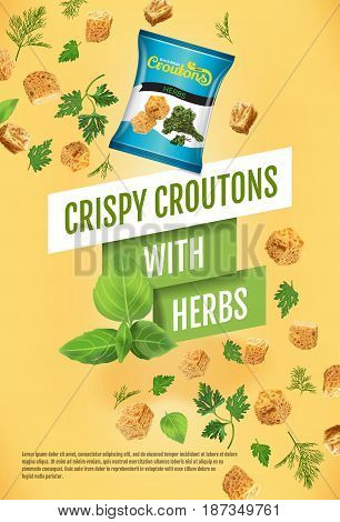 Crispy croutons ads. Vector realistic illustration of croutons with herbs. Vertical poster with product.