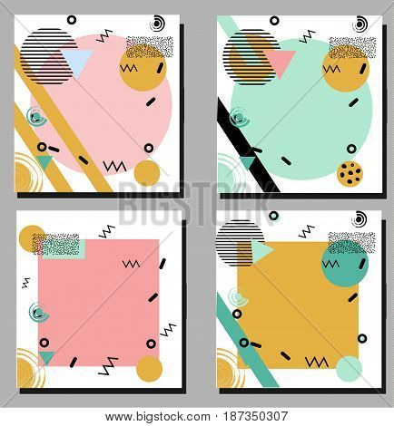 Artistic vector flyers design templates in trendy geometric 80s 90s style. Fashionable shop social media invitations advertisement marketing backgounds cards