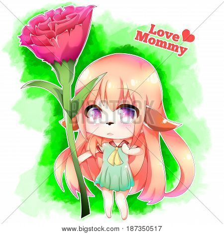 Happy Mother's Day Furry Girl. A long blonde hair, dog ear anime girl with green dress holding a red flower as gift for her Mom.