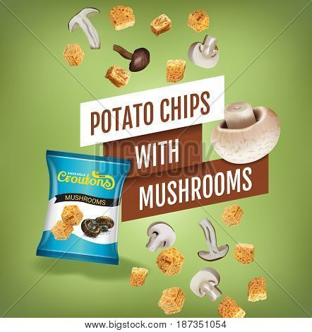 Crispy croutons ads. Vector realistic illustration of croutons with mushrooms. Poster with product.