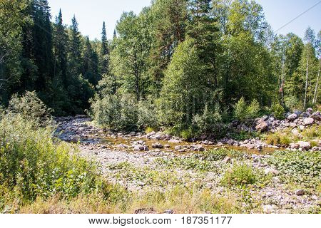 River And Stouns In It In A Summer