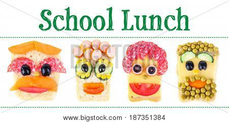 Concept of school lunch. Creative sandwiches on white background