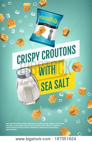 Crispy croutons ads. Vector realistic illustration of croutons with sea salt. Vertical poster with product.