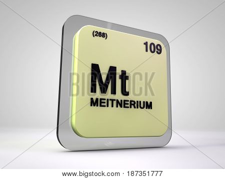 meitnerium - Mt - chemical element periodic table 3d illustration