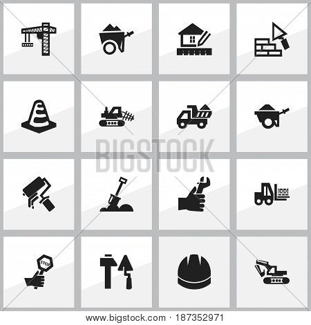 Set Of 16 Editable Construction Icons. Includes Symbols Such As Facing, Notice Object, Oar And More. Can Be Used For Web, Mobile, UI And Infographic Design.