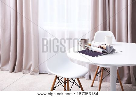 Modern room interior with new curtains