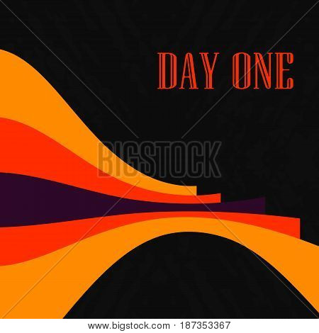 Vector Cover design. Red orange and black contrast bended lines background.