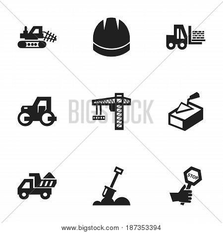 Set Of 9 Editable Construction Icons. Includes Symbols Such As Mule, Hardhat, Spatula And More. Can Be Used For Web, Mobile, UI And Infographic Design.