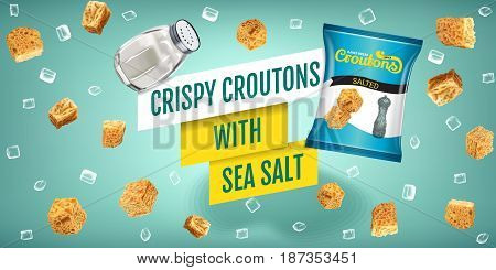 Crispy croutons ads. Vector realistic illustration of croutons with sea salt. Horizontal banner with product.