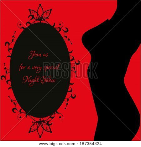 Night show erotic banner with sexy woman's body silhouette and decorative frame. Vector illustration