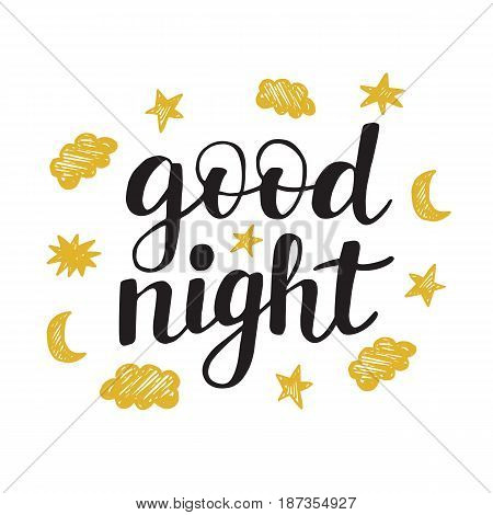 Good Night modern ink lettering in black and golden colors. Typographic design for greeting cards, cute posters, fashion t-shirt print. Trendy calligraphy. Vector illustration isolated on white