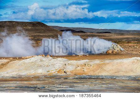 Hot Geothermal activities in Hverir Iceland, Europe
