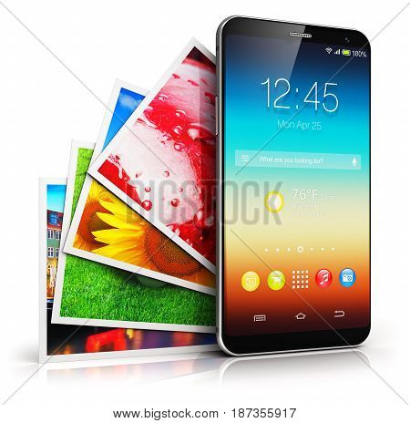 3D render illustration of modern black glossy touchscreen smartphone or mobile phone and group of color pictures or photos isolated on white background with reflection effect