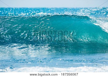 Blue wave in tropical ocean. Wave barrel crashing, clear water and sun light