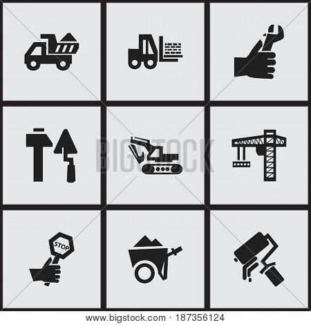 Set Of 9 Editable Structure Icons. Includes Symbols Such As Excavation Machine , Handcart , Truck. Can Be Used For Web, Mobile, UI And Infographic Design.