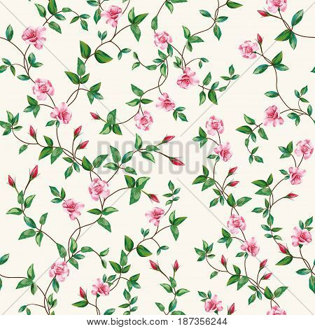 Seamless vector composition of rose flowers with intersect branches of leaves. Floral pattern wallpaper on a beige background