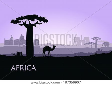 African landscape with camel and ancient temples in lilac tones