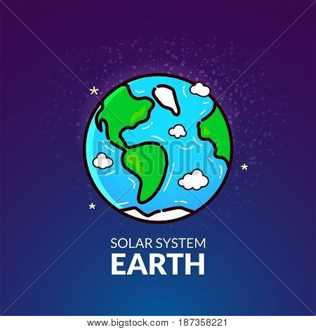 Terrestrial planet Earth, Solar System object, vector illustration in outline style