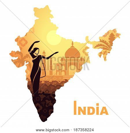 Dancing woman in traditional dress against the backdrop of the Taj Mahal in the form of a map of India