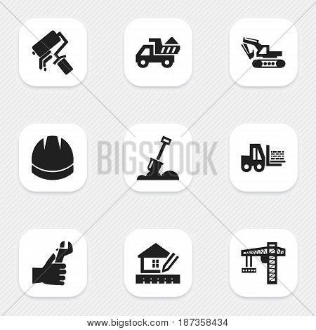 Set Of 9 Editable Construction Icons. Includes Symbols Such As Truck, Oar, Home Scheduling And More. Can Be Used For Web, Mobile, UI And Infographic Design.