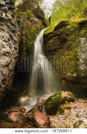 Beautiful small waterfall in the forest against a background of moss rocks and stones