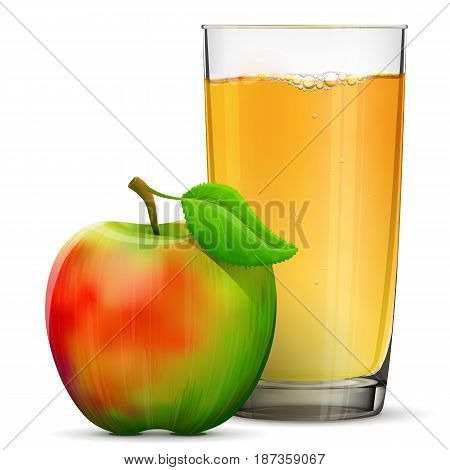 Apple juice in glass isolated on white background. Whole apple fruit with fresh cider glass. Best vector illustration about beverages, fruits, agriculture, food, gastronomy, etc