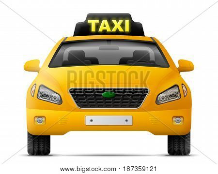 Yellow taxi car isolated on white background. Modern taxi cab, front view. Best vector image about transport, taxi service, transfer, passenger transportation, vehicle, hackney carriage