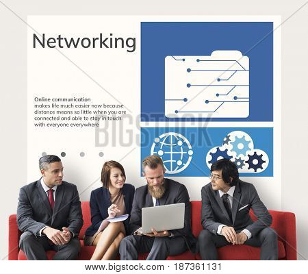 Network connection graphic overlay background billboard on wall