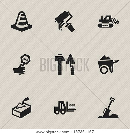 Set Of 9 Editable Structure Icons. Includes Symbols Such As Handcart , Oar , Scrub. Can Be Used For Web, Mobile, UI And Infographic Design.