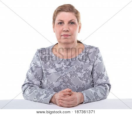 Portrait of cute senior woman on white background