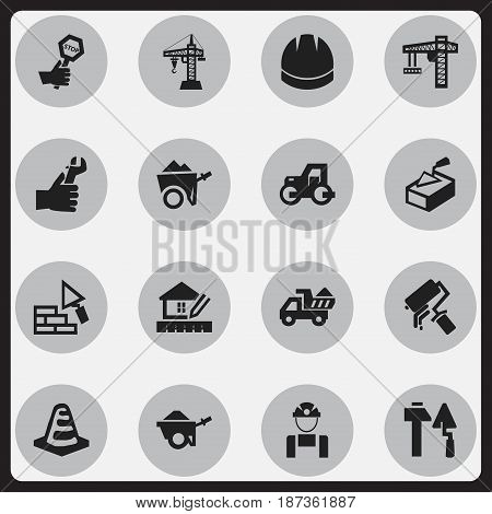 Set Of 16 Editable Structure Icons. Includes Symbols Such As Construction Tools, Handcart , Trolley. Can Be Used For Web, Mobile, UI And Infographic Design.