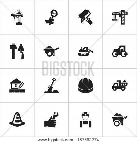 Set Of 16 Editable Structure Icons. Includes Symbols Such As Hardhat, Home Scheduling, Scrub And More. Can Be Used For Web, Mobile, UI And Infographic Design.