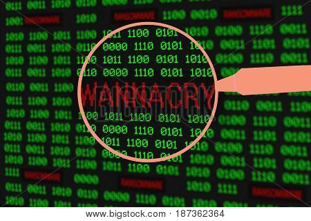Magnifying glass enlarging wannacry in computer machine code