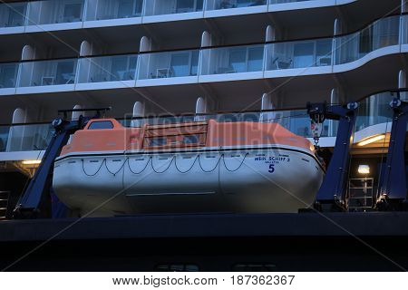 Amsterdam The Netherlands - May 11th 2017: Mein Schiff 3 TUI Cruises docked at Passenger Terminal Amsterdam safety vessels
