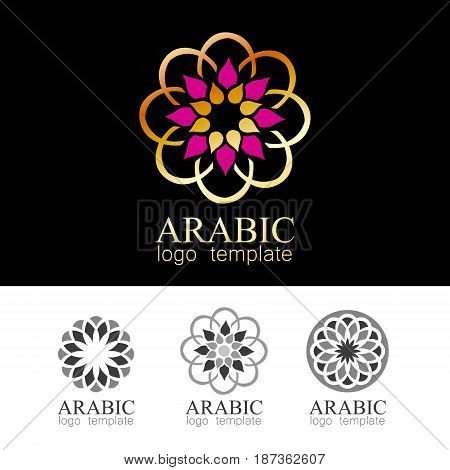 Arabic geometric logo template. Traditional tribal outline  decor. Ramadan islamic round pattern element.  Vector symbol.