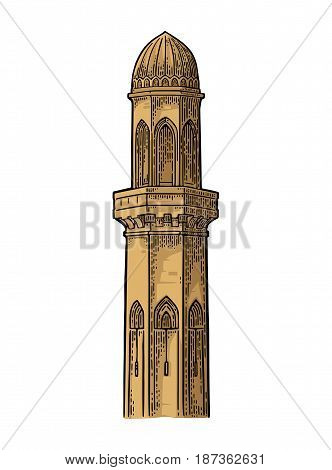 Minaret. Vector color vintage engraving illustration isolated on a white background.