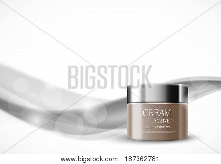 Skin moisturizer cosmetic ads template with brown realistic package on gray wavy soft light lines background. Vector illustration