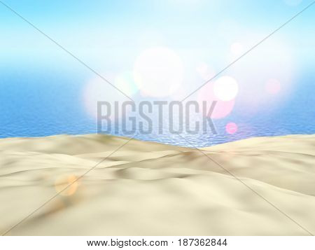 3D render of close up of sand against a blue sea background
