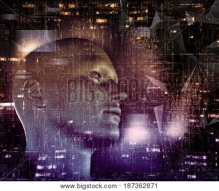 3D render of a techno background with male head and programming code