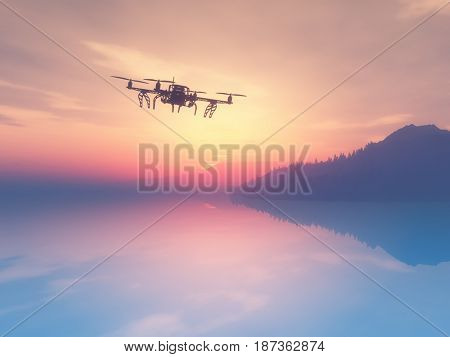 3D rende of a drone flying over a sunset ocean