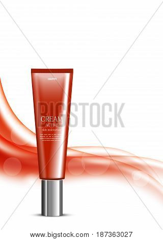 Skin moisturizer cosmetic design template with red realistic plastic bottle on wavy bright soft dynamic smooth lines background. Vector illustration