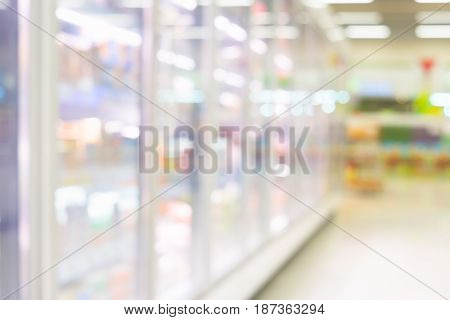 Blurred photo of fresh food in supermarket or shopping mall for background.