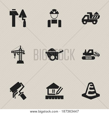 Set Of 9 Editable Structure Icons. Includes Symbols Such As Camion, Construction Tools, Elevator And More. Can Be Used For Web, Mobile, UI And Infographic Design.