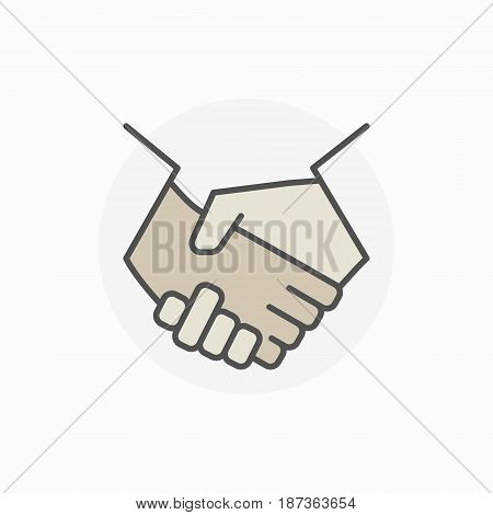 Colorful business handshake icon. Vector shaking hands sign or teamwork concept symbol